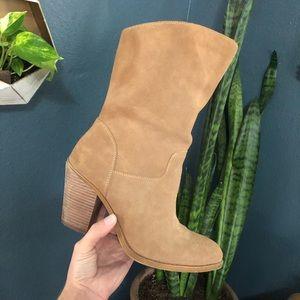 """NWOT Lucky Brand """"Emberleigh"""" Tan Heeled Boots"""